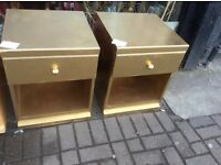 Pair of beechwood bedside chests