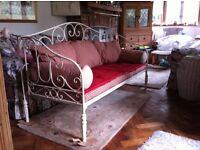 Traditional French Day Bed/Sofa - fitted cotton cushions and bolsters (made by Comptoir-de-Famille)