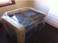 black faux leather 2 seater sofa, (Brand New)