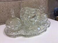 Vintage Cut-Glass Five Piece Dressing Table Set