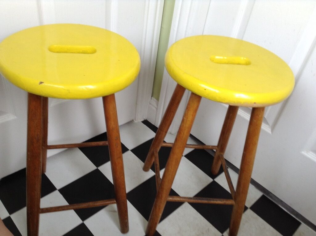 Vintage Retro Country Cottage Style Stool Pair Bedside