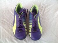 puma astroturf football trainers in purple and lime size 4 very good condition