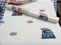 Mini car wallpaper and single duvet cover (not used)