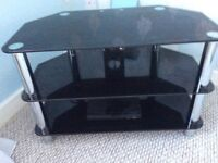Black glass and chrome T.V.Stand
