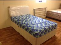 SMALL DOUBLE 4 FT BED WITH SEMI ORTHO MATTRESS AND HB