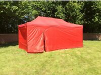 Gazebo awnings 3m x 4.5m or 3m x 6m red or blue or green, with full sides and door new boxed,