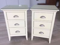 John Lewis Two Ivory Three Drawer Bedside Chests Excellent Condition