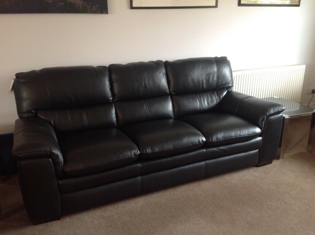 Dfs Neron Black Leather  Seater Sofa Brand New But Does