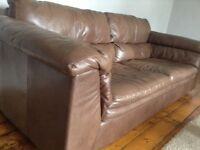 Brown Leather 3 & 2 Sofa's