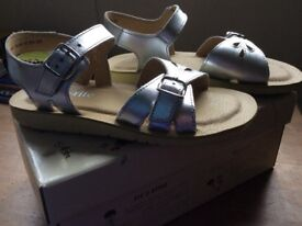 Brand New Girls Silver Leather Buckle Sandal