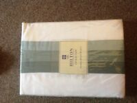 White curtains with green panel 66x54 in brand new in pack