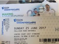 Two tickets to men's singles final at queens club
