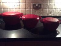 Set of 3 Aga cast iron casserole dishes