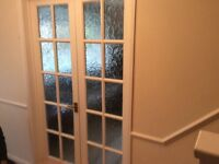 French doors with frosted glass panes and wardrobe doors bifold with plain glass