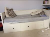 IKEA HEMNES DAY BED (INCLUDING THREE STORAGE DRAWERS AND TWO MATTRESSES)