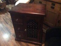 Indian jali shesham wood cabinet with wrought iron