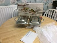 ERNESTO 1.5 LITRE x 2 FOODWARMER AND STAND NEW AND BOXED