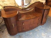 Vintage Curvy Mirrored Dresser 1950s
