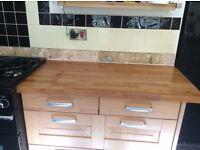 Used solid oak worktops