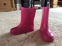 Pink glitter wellies 6 excellent condition