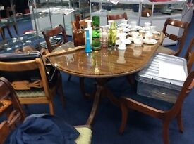 Old Regency style table and 6 chairs : Free Glasgow delivery