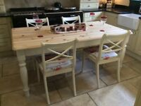 Solid Pine Dining Table with Four Chairs