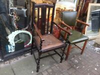 Edwardian oak chair with arms