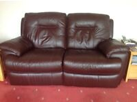 Leather 2 seater electric recliner. £150