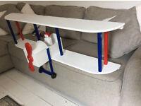 Long Wooden Wall Hanging Aeroplane Shelf