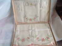 Vintage Old Bleach Pillow and Bolster cases - boxed