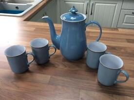 Denby Cotswold blue coffee pot & 4 mugs