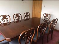 High quality solid wood dining room table with chairs( 2 carvers) and matching sideboard
