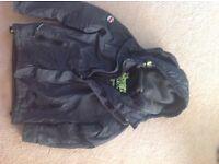Superdry men's black double hood coat
