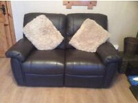 Brown Leather 2 x2 seater Recliners