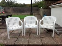 3 x alibert plastic garden chairs