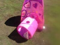Pink foldaway play tent and tunnel