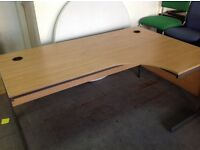 Limed oak, right hand curve desk