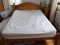 "4' 6"" Pine bed frame."