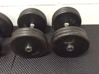 A selection of high quality, heavy duty cast iron dumb bells.