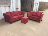 Rimini 3 &2 Seat Sofa Set + Footstool - EX DISPLAY - £299 Including Free Local Delivery