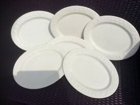 White Embossed Serving Platters. PAIGNTON