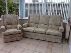 Parker Knoll 3 seater sofa and 1 armchair.