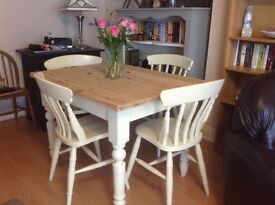 Pine farmhouse table & 4 matching chairs