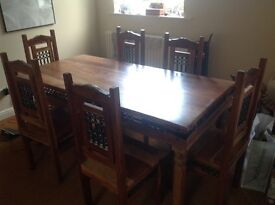 6 seater solid wood dining table with 6 solid wood chairs and 2x side tables