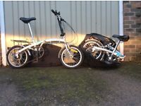 Pair of folding bicycles with carry bags