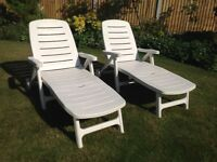 White Plastic Sunloungers