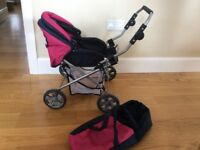 Dolls pram/buggy with adjustable handle and removable doll carrier