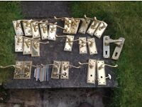 Brass Door Handles. 12 sets including 2 with locks. Used but in good condition.