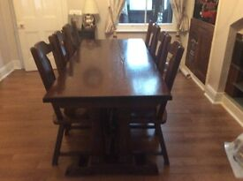 Bespoke German crafted dinning table six chairs