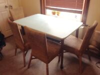 FREE - Dining table and four wicker chairs